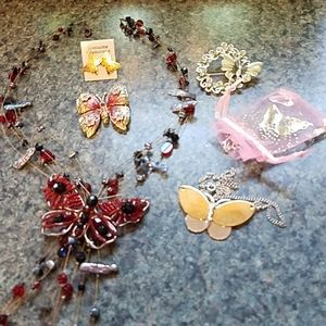 Jewelry Butterfly Pins, Necklaces & Earrings